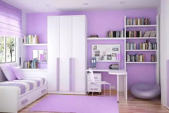 warna cat kamar tidur ungu muda