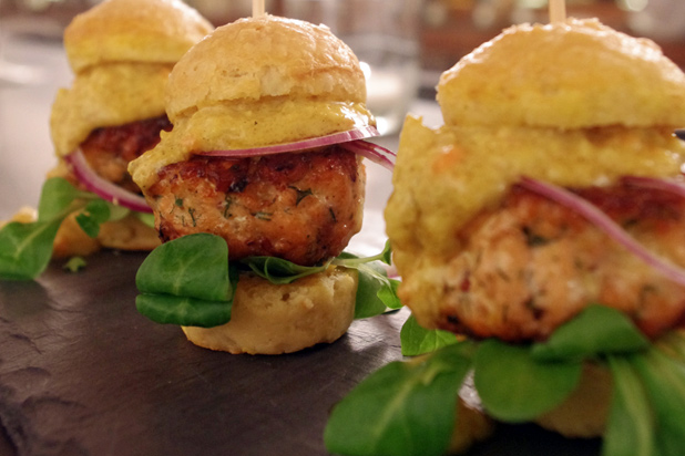 Photo: Salmon Sliders with Curry Remoulade: http://www.thedailymeal.com/11-sexy-slider-recipes-slideshow#3