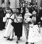 A pregnant Rahima Moosa, left, with Lillian  Ngoyi, Helen Joseph and Sophie Williams at the Union Buildings on August 9 1955.