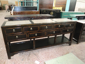 "Photo: F 008 Chinese Contemporary Cabinet with Marble Top rustic black lacquer finished 74""W x 18""d x 34""H Sale Price $1,350"