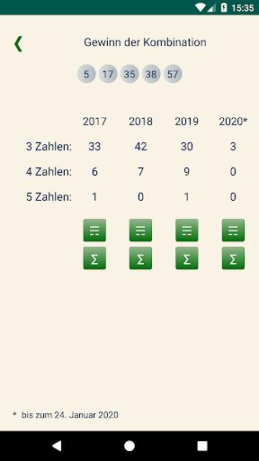 Keno DE  Statistik von Kombinationen 1.1.2 2