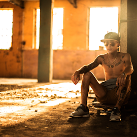 Thug Thoughts by Luciana Luraschi - Sports & Fitness Skateboarding ( cap, old school, thugh, akateboarding, street, street art, rusty, sk8, golde hour, chilling, life, vans, awesome, lifestyle, tattoo, skinny, dc, hipster, skate, building, sunglasses, nike, thug, dorado, urban, nigga, thinking, tough, factory, adidas, gang, kicks, golden )