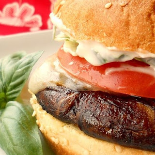 Grilled Portobello with Basil Mayonnaise Sandwich