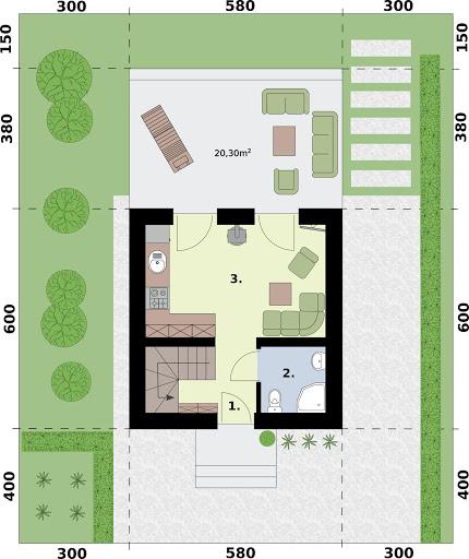 Lido 3 A dom letniskowy na zgłoszenie do 35m2 - Rzut parteru