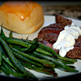 Simple Broiled Steak with Hericot Verts and Feta Cheese Sauce