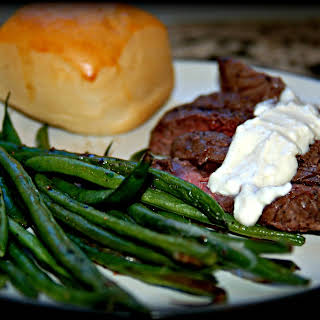 Simple Broiled Steak with Hericot Verts and Feta Cheese Sauce.
