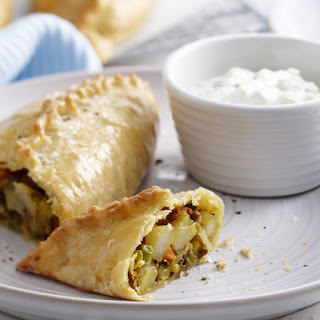 Indian Vegetable Turnovers and Raita.