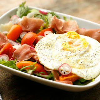 French Breakfast Radish, Prosciutto and Egg Breakfast Salad on Baby Kale Recipe