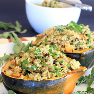 Acorn Squash Stuffed with Pumpkin Seed & Cherry Quinoa Pilaf