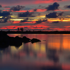 end of day by Andrian Andrew - Landscapes Waterscapes ( reflection, sunset, beautiful, cloud, seascape, landscape )