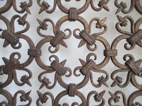 Photo: Code 3783. Pair of large 17th century Wrought iron grills from a choir cloiture in a church. You can almost not pass your hand through them! Provenance Deceased estate of S.H.  Dijon France, 300cm high x 120cm wide. 17th Century! SOLD