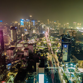 Central Jakarta by Irfan Firdaus - City,  Street & Park  Night ( travel photography, cityscapes, cityscape, indonesia, low light )