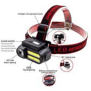 Lanterna frontala cu USB, T6 COB LED, Rosu
