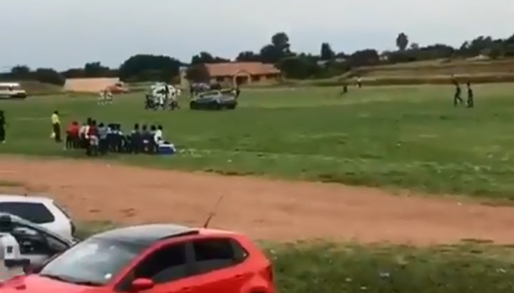 WATCH | Chaos as speeding car drives onto pitch during soccer match: 'We almost lost our lives' - TimesLIVE