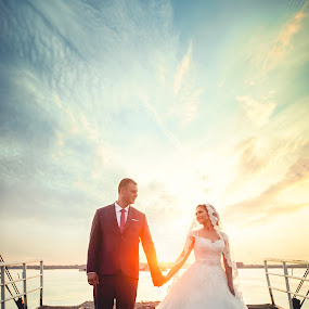 Zaklina i Aleksandar 4 by Vlada Jovic - Wedding Bride & Groom ( love, bridal, wedding, sunset, romantic, bride )