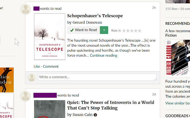 Goodreads feed filter