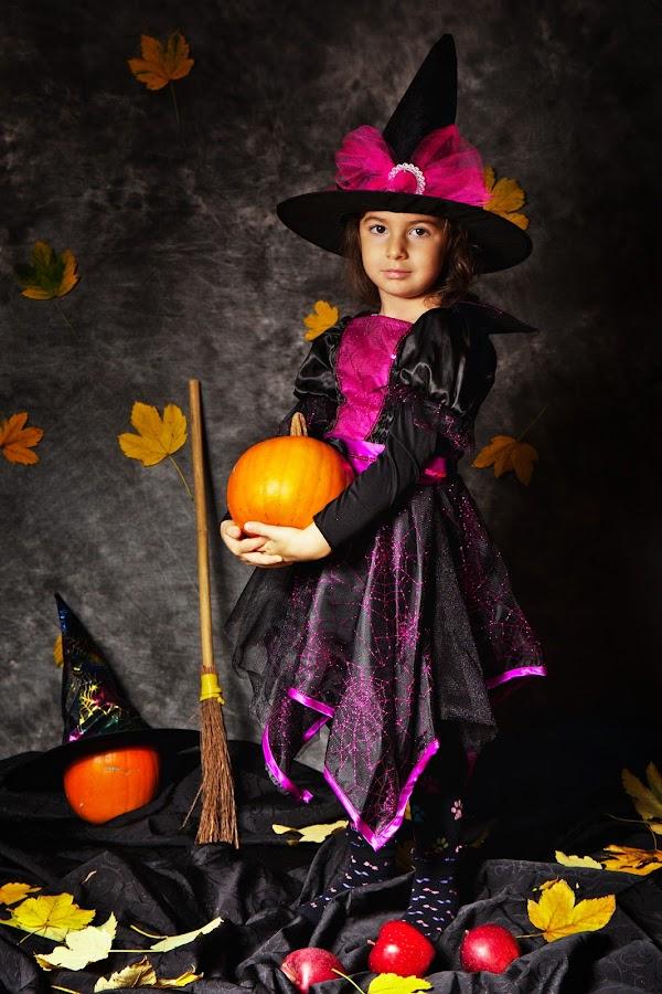 Big Little Witch by Nicu Buculei - Public Holidays Halloween ( girl, witch, play, costume, children, kids, halloween,  )