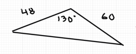 Obtuse triangle with angle 130 degrees and two adjacent side lengths of 48 and 60.