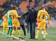 Steve Komphela, coach of Bloemfontein Celtics talking to Willard Katsande and Ramahlwe Mphahlele of Kaizer Chiefs during the Absa Premiership 2018/19 match between Kaizer Chiefs and Bloemfontein Celtics at the FNB Stadium, Johannesburg on 29 August 2018.