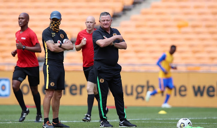 Dillon Sheppard with Gavin Hunt, coach of Kaizer Chiefs.