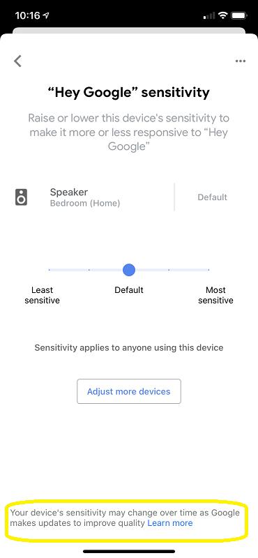 Google Home Sensitivity Options