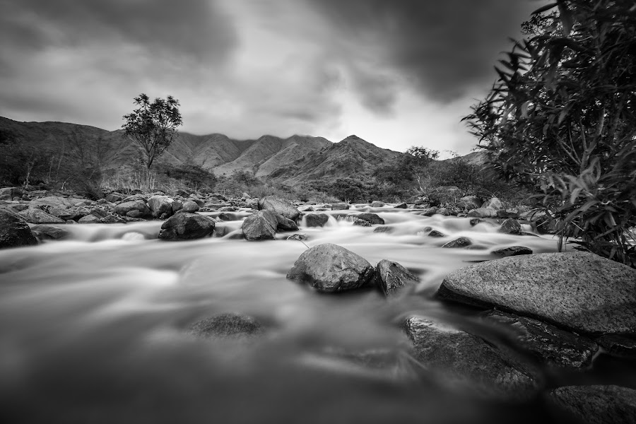 Storm is Coming! by Ralph Wolfe - Landscapes Mountains & Hills ( canon, water, monochrome, landscape, storm, mountains, nature, wide angle, long exposure, stones, rocks, philippines, rain, river )