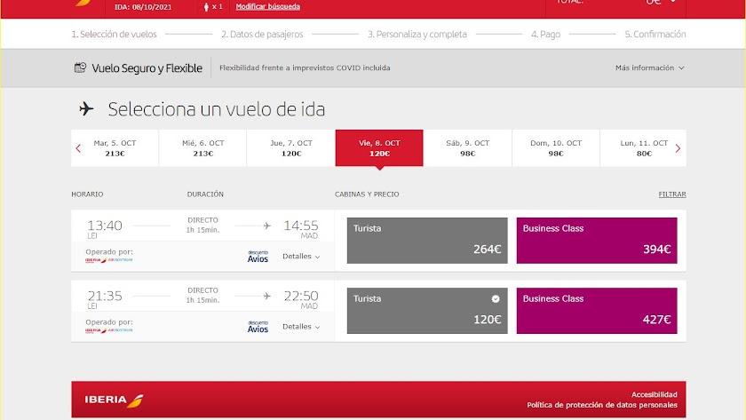 Los almerienses no disponen ahora de vuelos por la mañana a Madrid.