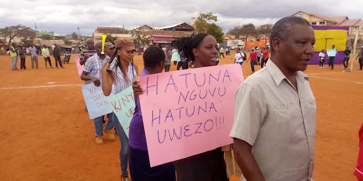 Taita Taveta health workers demonstrates at Moi Stadium, Voi on September 26.