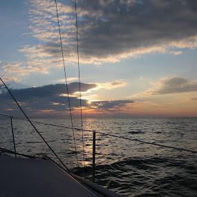 Sunset sail, Lake Michigan by Tamara Koontz - Uncategorized All Uncategorized ( sailing, sunset, relax, tranquil, relaxing, tranquility,  )