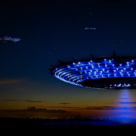 Abduction version 2 by Vincent Yates - Digital Art Things ( person, night, sunset, lights, tractor beam, ufo,  )