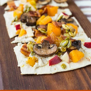 Ricotta Flatbread with Bacon, Squash, Apples and Maple Pepitas.