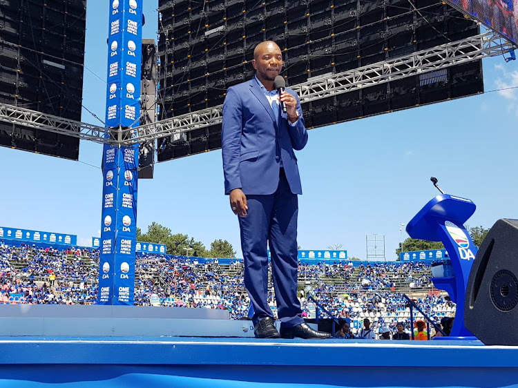 DA leader Mmusi Maimane giving the keynote address at the party's manifesto launch at Rand Stadium on Saturday.