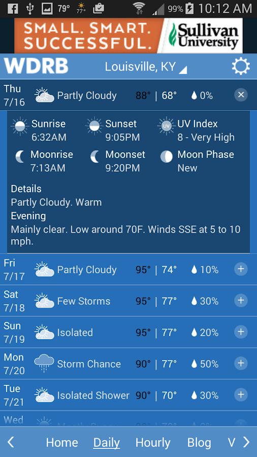 WDRB Weather App- screenshot