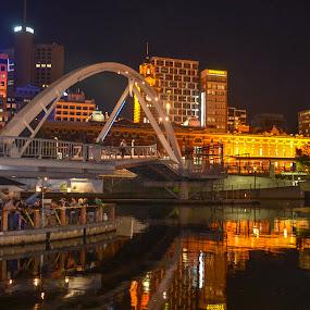 Melbournight by the river by Gonzalo Ruiz - City,  Street & Park  Night ( night photography, night scene, melbourne, cityscape, nightscape, river )