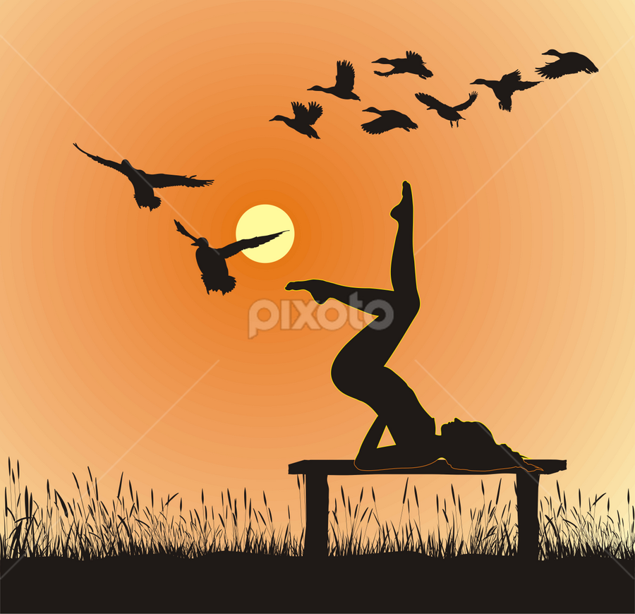 Yoga in Nature by Vladimir Ceresnak - Illustration People ( royalty free illustrations, graphic, instructor, bench, silhouette, pictures, yellow, beauty, birds, artwork, drawing, flying, drawings, nature, woman, movement, stock clipart icons, graphics, orange, wild, stock illustration, stock clip art icon, logo, mallard, grass, health, young, line art, sunset, yoga )