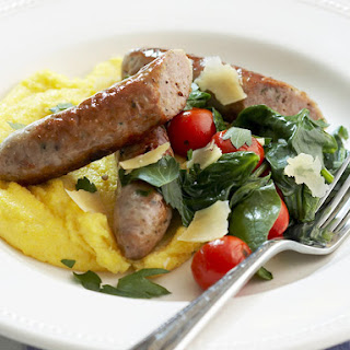 Polenta with Sausages and Spinach.