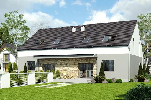 projekt Mazurek z garażem 1-st. bliźniak A-BL2