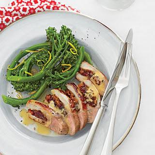 Cranberry-Apricot Stuffed Pork Chop with Broccolini Recipe