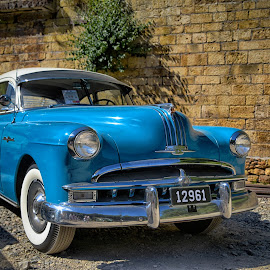 Vintage Car by Marco Bertamé - Transportation Automobiles ( oldtimer, chrome, headlights, american, streak, pontiac, number, blue, car, vintage, 8, number plate, silver, bumper, us )