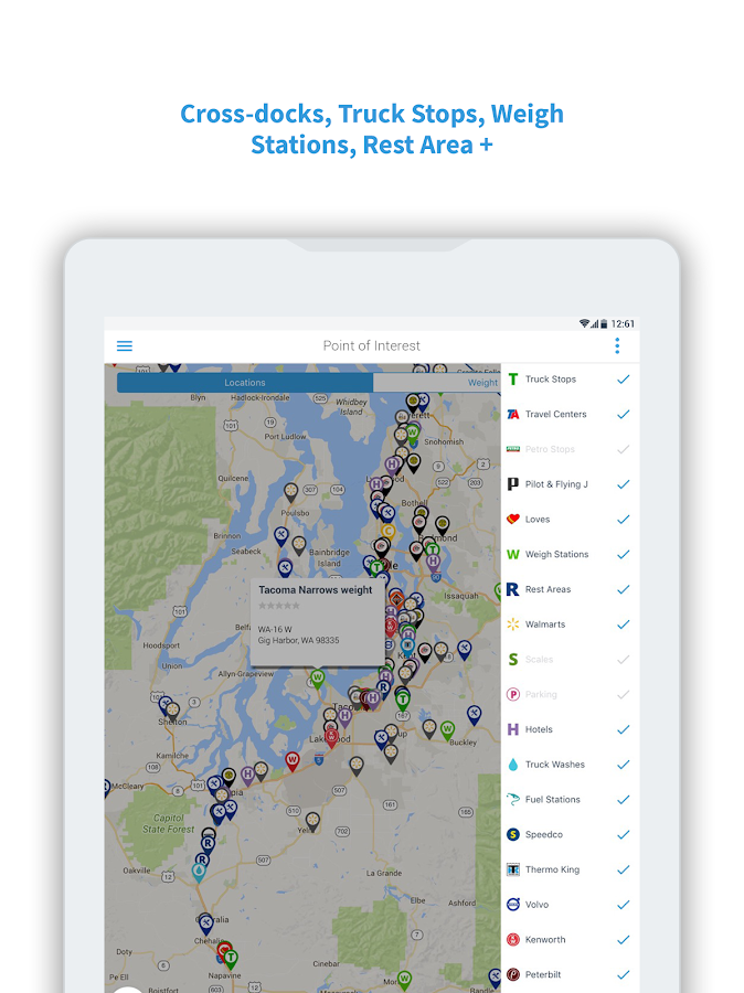 Ezlogz Logbook Weigh Station Truck Stop Social Android Apps - Us weigh station map