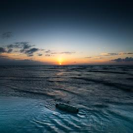Almost Perfect Sunset by Sharmal Kelambi - Landscapes Sunsets & Sunrises ( seascape, ocean, nature, sunset, pollution, landscape,  )