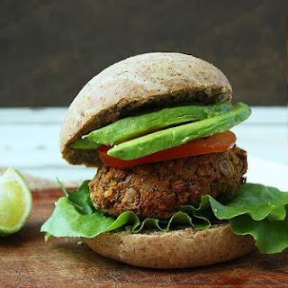 Wholemeal Vegan Burger Buns with Lentil & Carrot Patties.