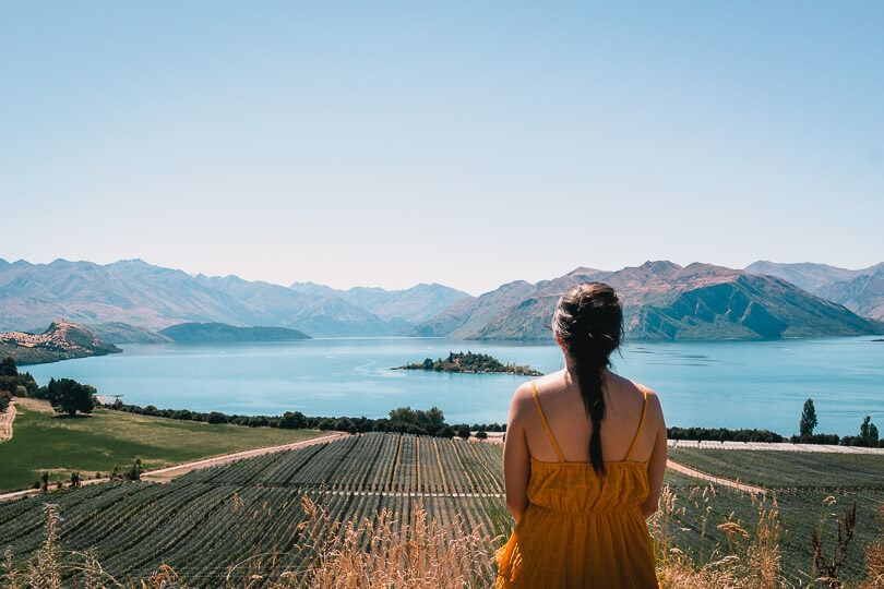 View of the vineyards and Lake Wanaka at Rippon Winery in Wanaka