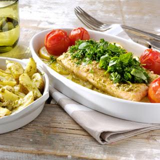 Zalm al forno met pesto alla genovese, citroen en Italiaanse ovenaardappeltjes