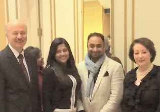 Photo: L-R: Hon Reza Moridi, Minister of Training, Colleges & Universities (Ontario) accompanied by Kalpa Pathak, Director of Public Affairs & Member Services - Canada India Education Council (CIEC) & Husain F Neemuchwala, CEO - CIEC at a charity dinner