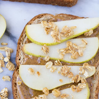 Pear and Almond Butter Toast with Granola.