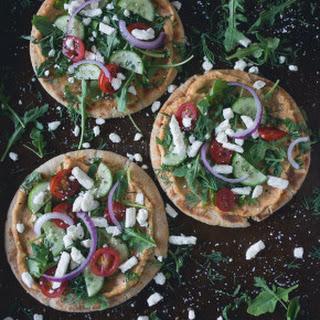 Greek Salad Hummus Pita Pizza.