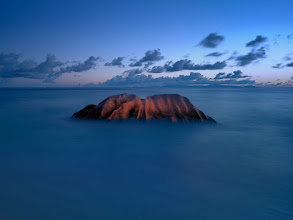 Photo: La Digue, Seychelles  Perhaps the most photographed rock on Seychelles. It has a great character and one cannot pass by without at least having tried the shot. I waited for some time for all the people to leave, ended up photographing well after sun set with perhaps highest tide possible. I was lucky with a little bit of afterglow on the rock. Some more on this on my website: http://www.landandcolors.com/2012/04/linhof-techno-at-the-equator/