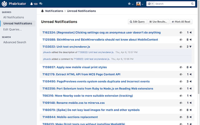 Group phabricator notifications