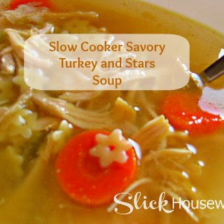 Homemade Savory Turkey and Stars Soup with Slow Cooker